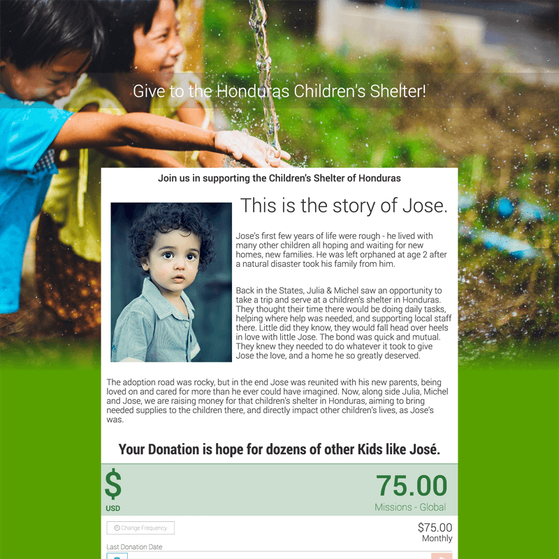 Visual Story about Jose on Giving Page